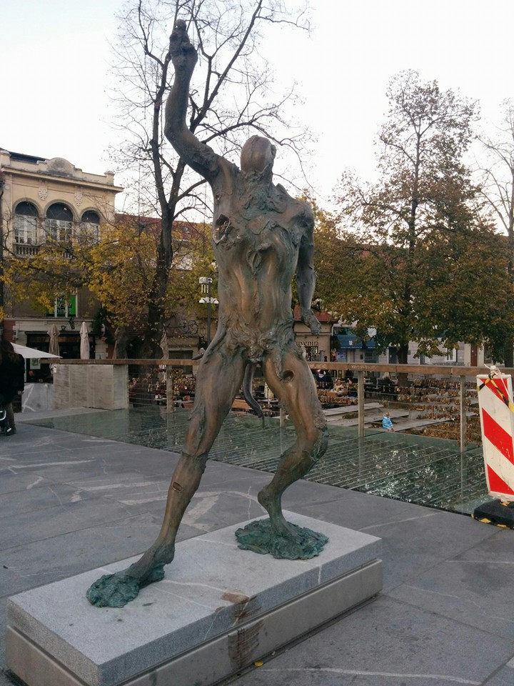 Gobi found a statue of a Grotesque Zombie in Ljubljana - how eclectic, quaint, and strange this town is!