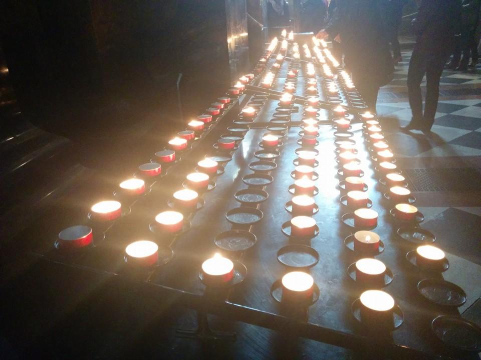 Gobi enjoyed learning about the way Catholics put candles inside the Basilica