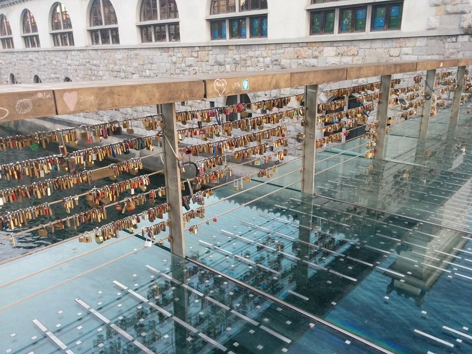 Bridge of locks Ljubljana - close up, taken by Gobi Dasu